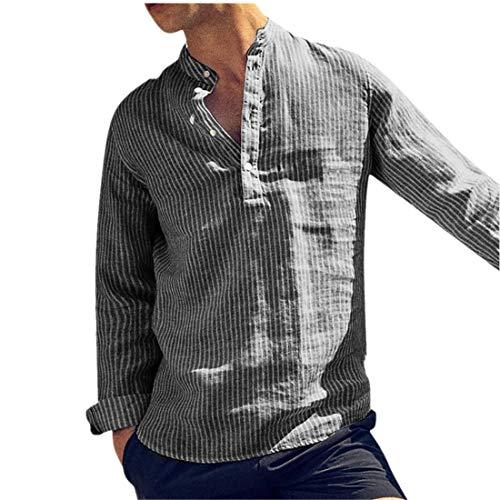 BHYDRY Mens Casual Leinen Knopf Einfache Langarm Streifen Lose T-Shirt Bluse Top(X-Large,Schwarz) (Metallic-streifen-rock)