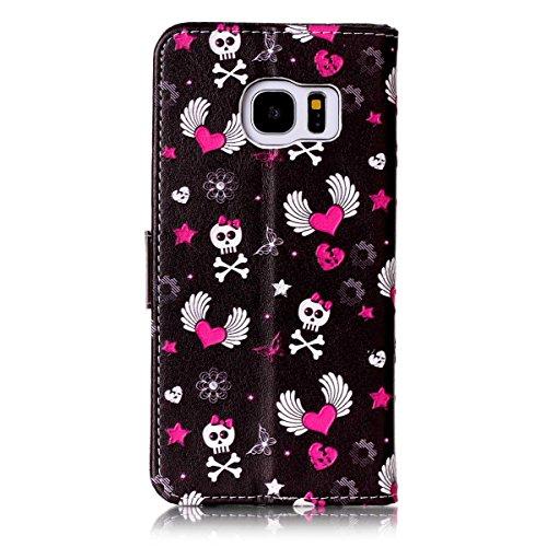 Samsung S7 Edge Coque,Samsung S7 Edge Case,Galaxy S7 Edge Étui - Felfy Flip Book Style Luxe PU Wallet Étui en cuir PU de Première Qualité Avec Coverture Toute-Puissante Coque Magnetic Closure Fashion Cas Coque Bumper Housse Etui pour Samsung Galaxy S7 Edge (Amour Kito Cas) + 1 x Schwarz Touch Stylus + 1 x Owl Dust Plug