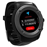 GPS Uhr HR Sport GPS Smartwatch Outdoor Sportuhr Laufuhr Herzfrequenz Schlaf Monitor mit Smart Notifications,Routenaufzeichnung Fitness Activity Tracker für iOS 8.0 & Android 4.4 and Above(Schwarz)