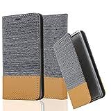 Cadorabo Hülle für LG Nexus 5 - Hülle in HELL GRAU BRAUN – Handyhülle mit Standfunktion und Kartenfach im Stoff Design - Case Cover Schutzhülle Etui Tasche Book