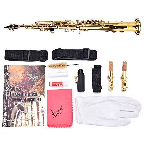 B-Flat Diskantsaxophon Messing gerade Saxophon Bb B flach natur Muschel Schnitzmuster mit Tragetasche Handschuhen Reinigungstuch Riemen Fett Reinigungsstab gold - Flache Warenkorb
