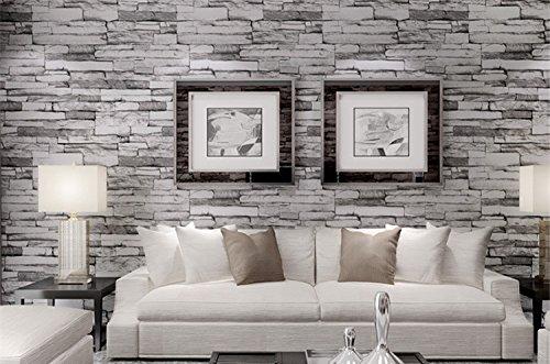 HEYUN& Wasserdichte PVC-Ziegel Mustertapete das Wohnzimmer Hintergrund Tapete 3D-Perspektive ( Color : Gray )