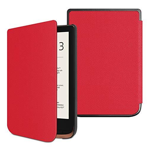 Fintie Hülle kompatibel für Pocketbook Touch HD 3 / Touch Lux 4 / Basic Lux 2 e-Book Reader - Ultradünne Schutzhülle mit Auto Aufwachen/Schlaf Funktion und Magnetverschluss, Rot