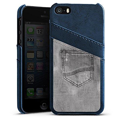 Apple iPhone 5s Housse Étui Protection Coque Style jeans Pantalon Gris Étui en cuir bleu marine