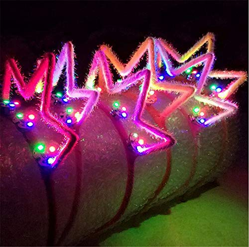 XIANGMAI Party Cosplay Kostüm Stirnband Multi-Color LED Crown Flashing Haarbänder Kopfschmuck Glowing Party Supplies Haarband 5 Teile/Paket(Style 4)