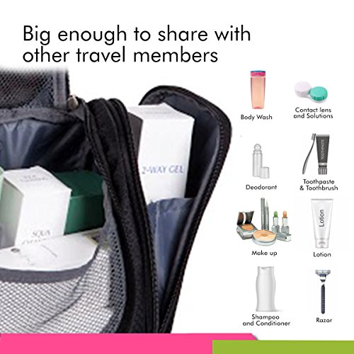 Bago Travel Toiletry Bags for man woman & kids – 100% SATISFACTION GUARANTEED. Hanging Toiletries Bag or for Home. Multi Pockets & High Quality Zippers. Perfect for Cosmetics Shaving & Personal Care (Black)