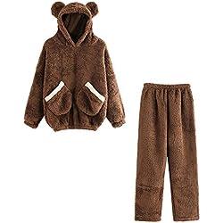 Logobeing Mujeres Con Capucha de Oreja Ropa Interior Caliente Del Oso Del Paño Grueso Pantalones de Pijama Blusa Juego de Pantalones ( 2Pcs/ 1 Conjunto) (S, marrón)