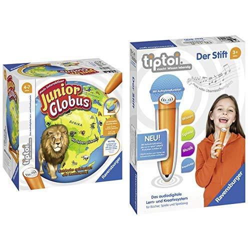 Ravensburger 00785 - Tiptoi Mein interaktiver Junior Globus &  Tiptoi 00801 Der Stift
