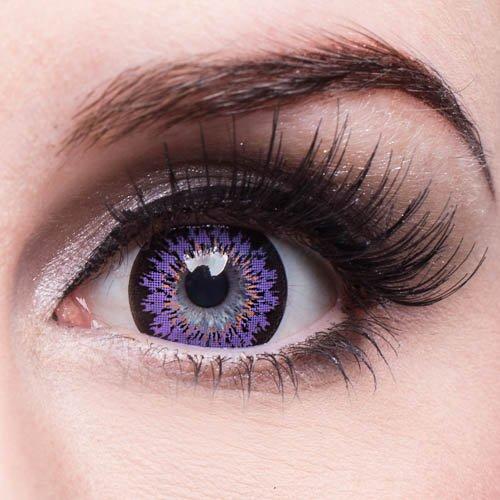 Matlens – EOS Farbige Kontaktlinsen ohne Stärke violet lila Big eyes S-325 2 Linsen 1 Kontaktlinsenbehälter 1 Pflegemittel 50ml FBA
