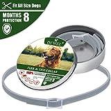 DEWEL 63.5cm Zecken Halsband für Hunde und Katze, Floh Zecken Kragen Floh-und Zecken Prävention Halsbänder, 1pcs Verstellbar Wasserdicht Hund Flohhalsband 8 Monate Schutz