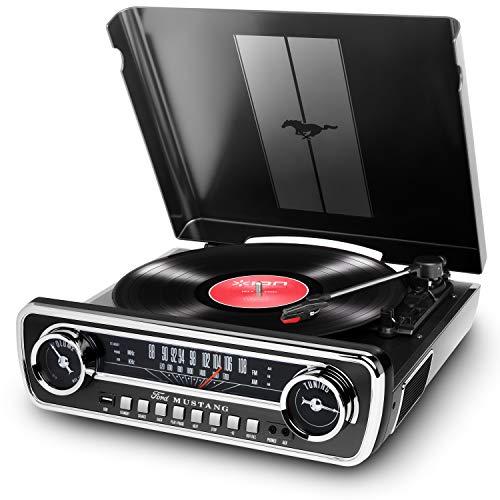ION Audio Mustang LP - Giradischi 4 in 1 con Radio, Ingressi USB e Aux, Casse Integrate in Stile Auto d'epoca ed Elegante Finitura in Nero