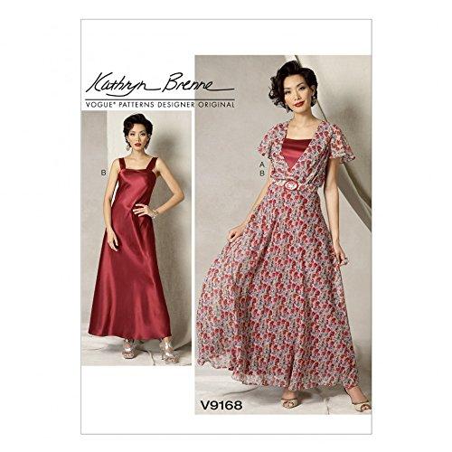 Vogue Damen Schnittmuster 9168Flutter Sleeve Dress, rutschfest und Gürtel + Gratis Minerva Crafts Craft Guide - Damen Flutter Sleeve Dress