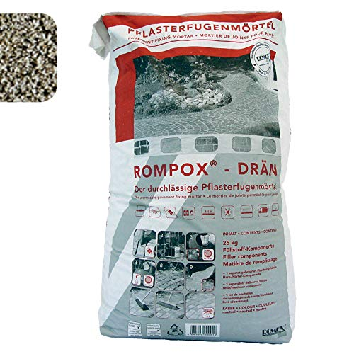 ROMPOX - DRAEN 2K-Epoxidharz Pflasterfugenmörtel 26,8 kg - steingrau Fuellstoff 25 kg Harz-Haerter 1,8 kg - 2-Komponenten-Epoxidharz Pflasterfugenmörtel für Fußgängerbelastung