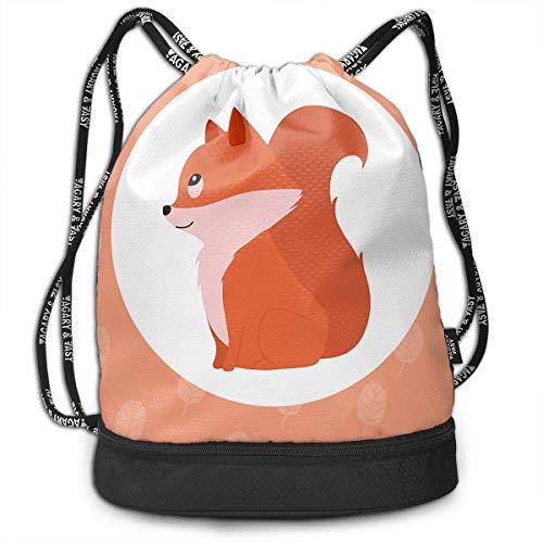Nasnew Squirrel Pine Nut Print Drawstring Bags Simple Bundle Pocket Backpack