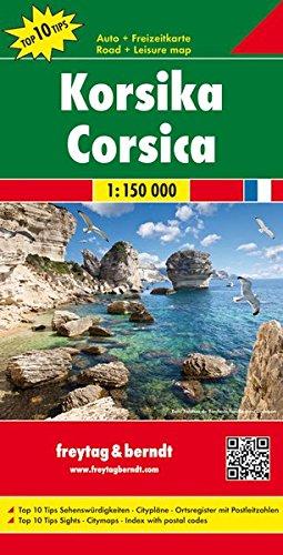 Korsika, Autokarte 1:150.000, Top 10 Tips, freytag & berndt Auto + Freizeitkarten
