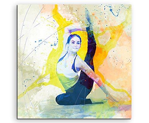 Yoga III 60x60cm Wandbild SPORTBILD Aquarell Art tolle Farben von Paul Sinus