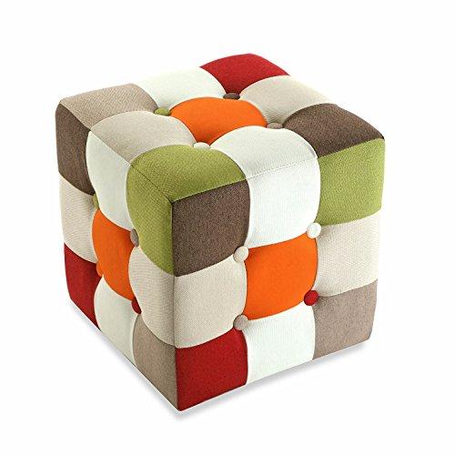 Versa 19500461 Taburete cubo puff asiento Red Patchwork, 35x35x35cm, M