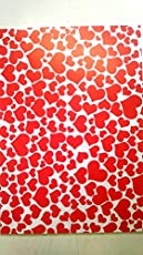 KABEER ART Hearts Design A4 Size Craft Paper Sheets with Single Side Decorative Pattern for Arts and Crafts (Red) - Pack of 10