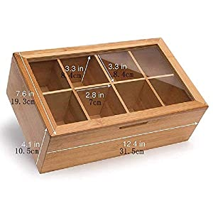 Esoes Boîte à thé en Bambou 8 Compartiments réglables