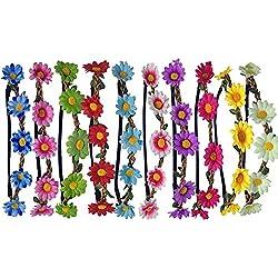 10pcs Bohemia Playa Margarita Flor Diadema, Multicolor Sol Flor Floral Corona Nupcial Diadema de Guirnalda con Cinta Elástica Para Fiesta de La Boda del Festival - Daisy (10pcs)