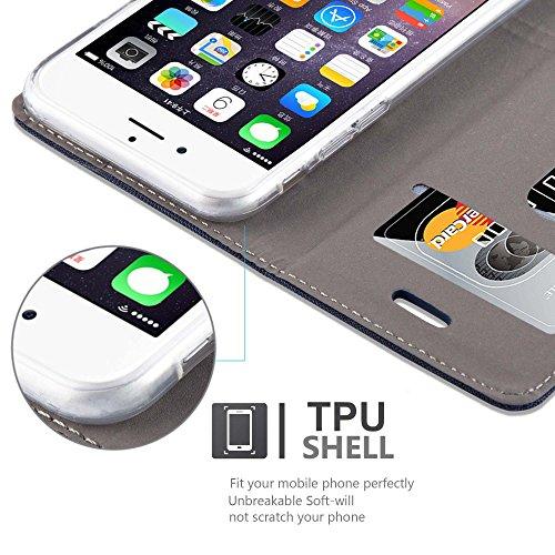 Cadorabo - Etui Housse pour Apple iPhone 6 / 6S - Coque Case Cover Bumper Portefeuille en Design Tissue-Similicuir avec Stand Horizontale, Fentes pour Cartes et Fermeture Magnétique Invisible en GRIS- BLEU-FONCÉ-MARRON