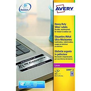 AVERY Zweckform L6008-20 Typenschild-Etiketten (A4, 3.780 Stück, 25,4 x 10 mm, wetterfest, 20 Blatt) silber