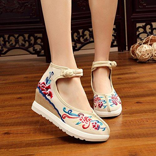 Insun Insun Damen Sandalen Mit Keilabsatz Mary Jane Schuhe Handgemachte Gestickte Schuhe Beige