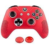 eXtremeRate Funda Carcasa Antideslizantes de Silicona con 2 Joysticks ThumbGrips para Pulgares para Mando Microsoft Xbox One S & Xbox One X Rojo