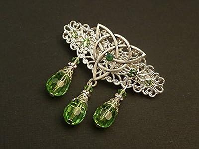 Petite pince à cheveux avec noeud celtique en argent vert