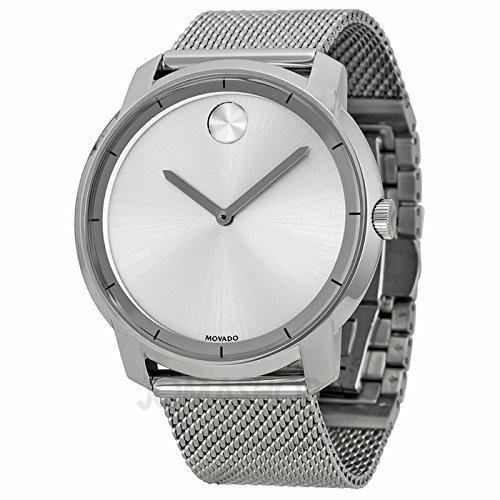 Movado movado grassetto argento quadrante acciaio inox acciaio maglia mens orologio 3600260