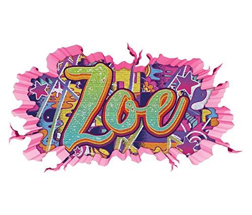 3D Wandtattoo Graffiti Zoe Mädchen Name Wand Aufkleber Wanddurchbruch Girl sticker Wandbild Kinderzimmer 11U166, Wandbild Größe F:ca. 140cmx82cm