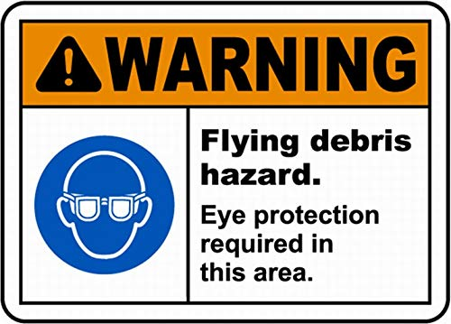 mefoll Flying Debris Hazard Eye Protection Sign Warning Sign Safety Sign Danger Tin Sign 12x16 by -