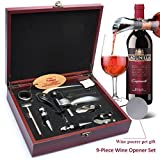 Yobansa Edelstahl-Weinöffner-Set, 9 teilig, Wein, Bier, einzigartiges Geschenk-Set für Weinliebhaber Wooden Case