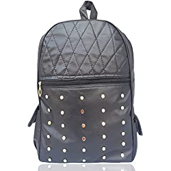 Typify Studded Casual Purse Fashion Leatherette Backpack Shoulder Bag Mini Backpack for Women & Girls (Black)