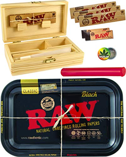 Set RAW Black Rolling Tray Small Metall - Holzbox Medium Holz 155 x 85 x 48mm + 3X 32er RAW KS Slim Papers + 2X 50er RAW Filtertips + Buddies Tube Transporthülle 120mm bunt + Rasta-Button