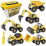 Smontare Camion Giocattoli 6-in-1 Montare Escavatore Veicoli con Cacciavite Attrezzo DIYModello Gioco di Auto Regalo di Compleanno di Natale per Bambini Ragazzo Ragazza 3 4 5 Anni