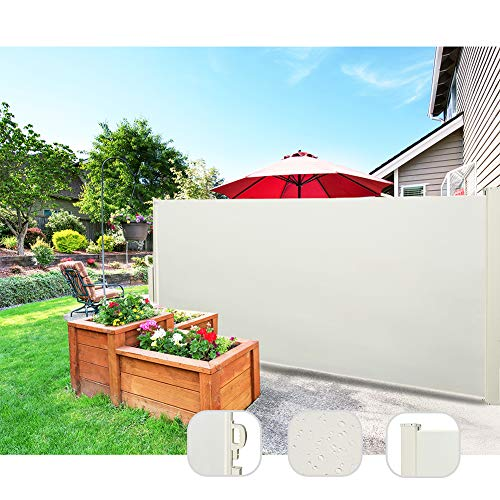 CCLIFE Seitenmarkise Ausziehbar Sichtschutz Windschutz Sonnenschutz TÜV mit Alu-Rolle, Farbe:Beige, Größe:160x300cm