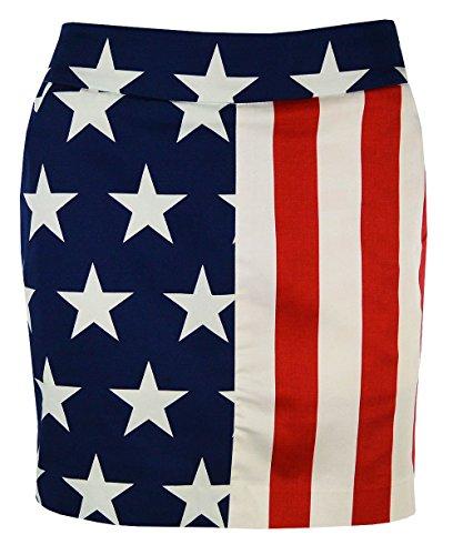 Loudmouth Golf Damen Skort aus 100% StretchTech, 4. Juli Stars & Stripes, Damen, Mehrfarbig, 6