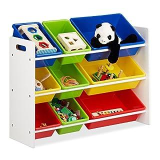 Relaxdays Étagère pour Enfants, Organisation 9 Boîtes de Rangement pour Jouets Colorées, MDF+Plastique, 68x86x31 cm