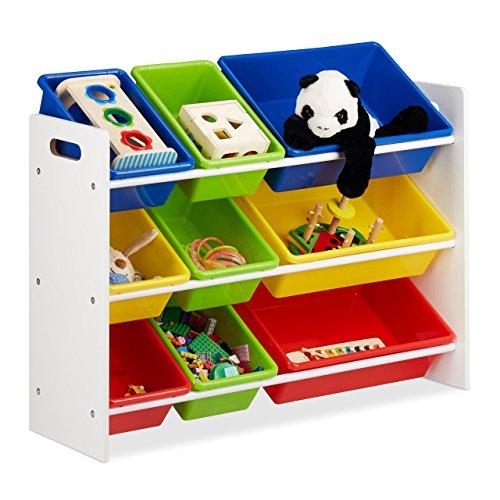 Relaxdays Kinderregal mit Regalboxen, Aufbewahrungsregal, es Spielzeugregal, MDF+Kunststoff, HxBxT 68x86x31 cm Bunt (Kinder-spielzeug-organizer-ablagen)