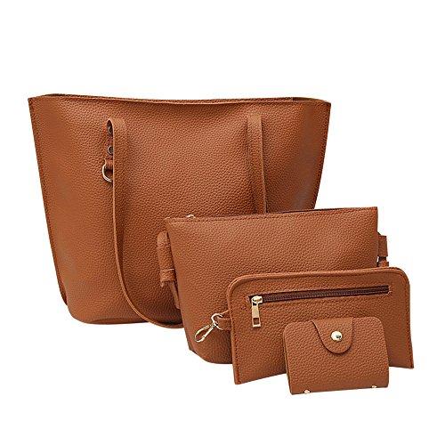 TIFIY 4pcs Damen Ankunft Hahnentritt Muster Litschi Stria Schultertasche + Crossbodytasche + Handtasche + Karte Tasche (Braun)