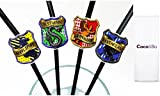 10 x Coco&Bo - Magical Wizarding Hogwarts Houses Straws - Harry Potter Theme Party Decorations / Accessories