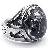 KONOV Joyería Anillo de hombre, Calavera Cráneo Tribal Gótico Biker, Acero inoxidable, Color negro plata - Talla 20 (con bolsa de regalo)
