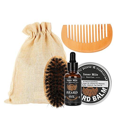Rasage professionnel 4Pcs / Set Men Beard Care 60g Baume hydratant à la barbe + 30g Huile à la barbe + Peigne + Brosse soin de barbe cadeau