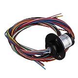 BQLZR 1,2cm de diamètre en métal Noir 12fils 2A AC240V Micro Collector Bague 250rpm Capsule Slip Bague pour équipement de test