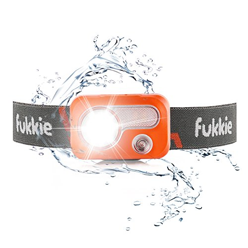 Fukkie LED Stirnlampe, IPX7 Wasserdicht Kopflampe 215 Lumen mit 6 Lichtmodi, Weiß/Rotlicht, Flutlicht, Verstellbares Band und Karabiner, AAA Batterien inkl. Ideal für Joggen, Laufen, Skitour, Wandern