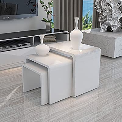 Uenjoy High Gloss Nest of 3 Table White Coffee Table Side Table Living Room - cheap UK light shop.