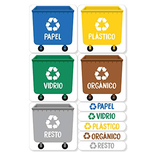 Haberdashery Online 5 Etiquetas Adhesivas para Reciclaje Basura. Pegatinas para la gestión de residuos...