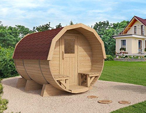 Gartensauna, Saunafass: Fasssauna M2 Premium 2,96m, Espe-Saunaholz bei allen Innensitzbänken (rote Dachschindeln) -