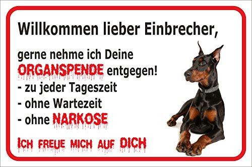 """Schild - Vorsicht Dobermann \""""Einbrecher\""""(SCHWARZ) (20x30cm)"""